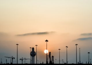 Jeddah sunset at Red Sea port