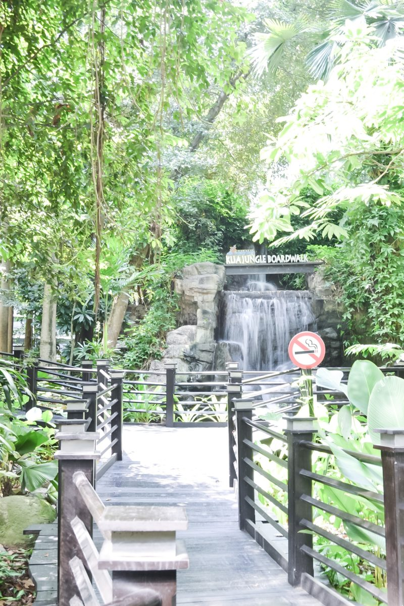 KLIA Jungle Boardwalk waterfall as seen from the entrance