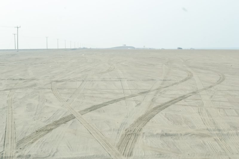 Tire tracks around the wreckage site