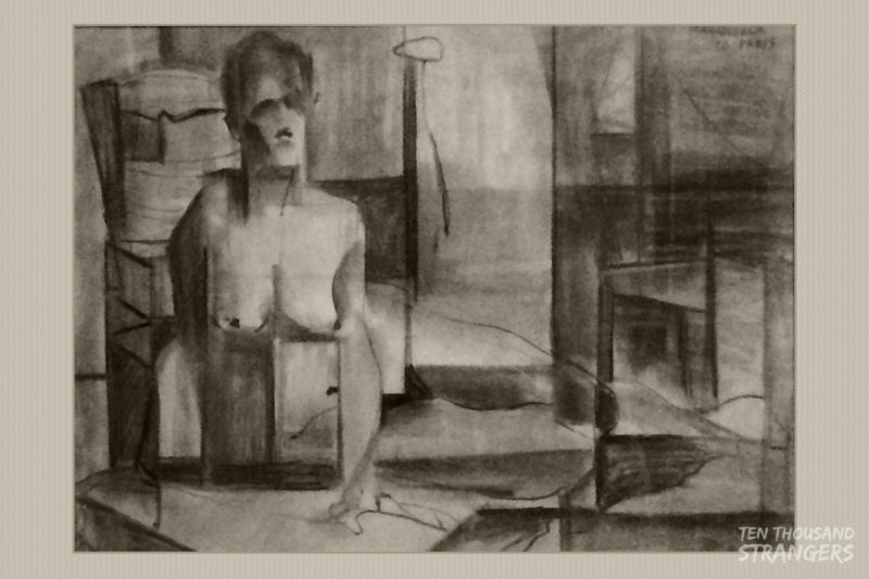 """Abstract Nude"" (Paris 1950) Vicente Manansala Charcoal on Paper"