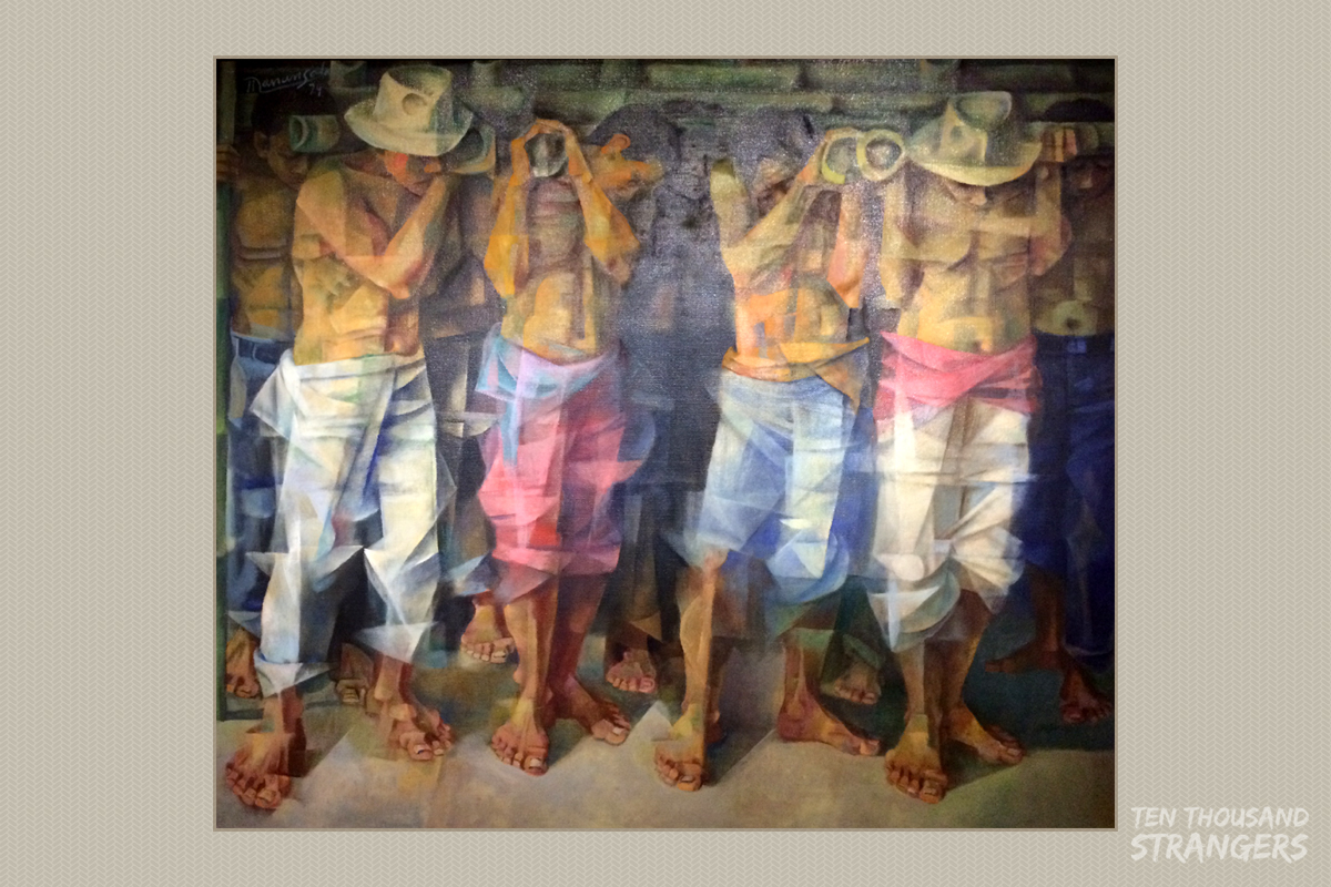 Bayanihan 1979 vicente manansala oil on jute