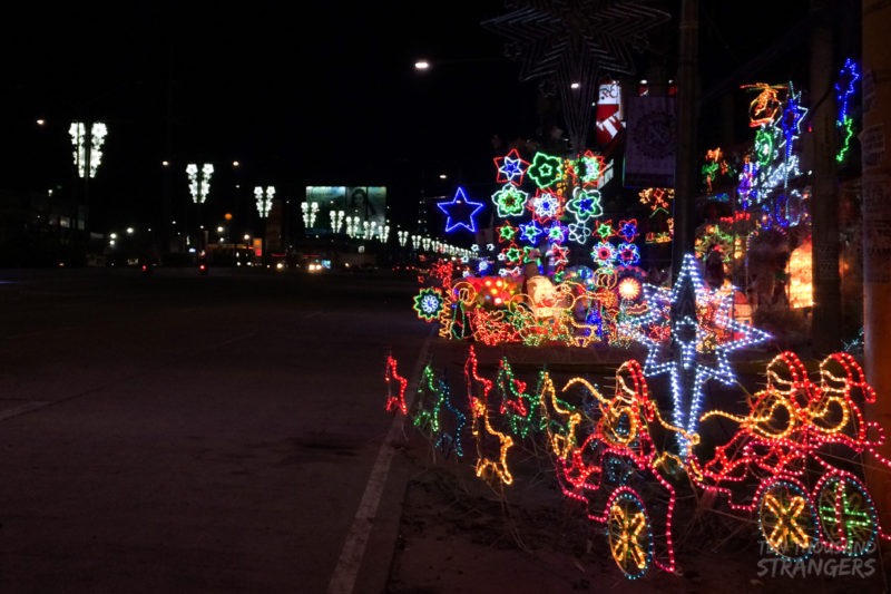 Electric Christmas Lanterns along the road in San Fernando, Pampanga