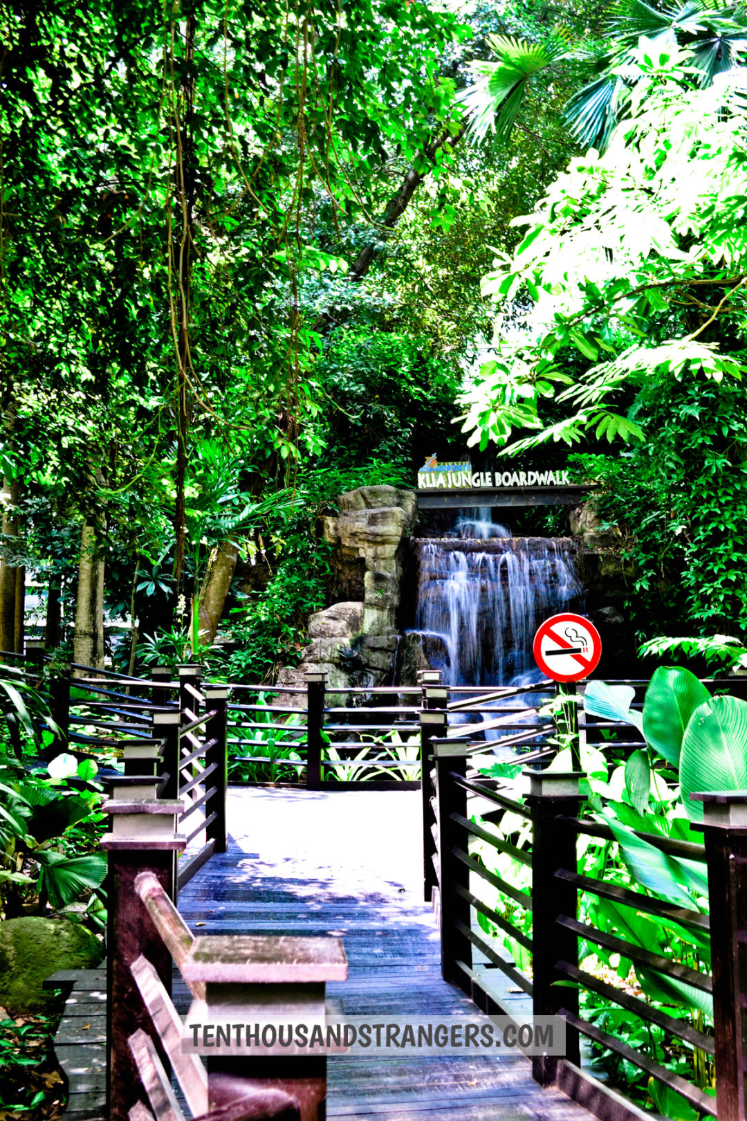 KLIA Jungle Boardwalk waterfalls as seen from the entrance